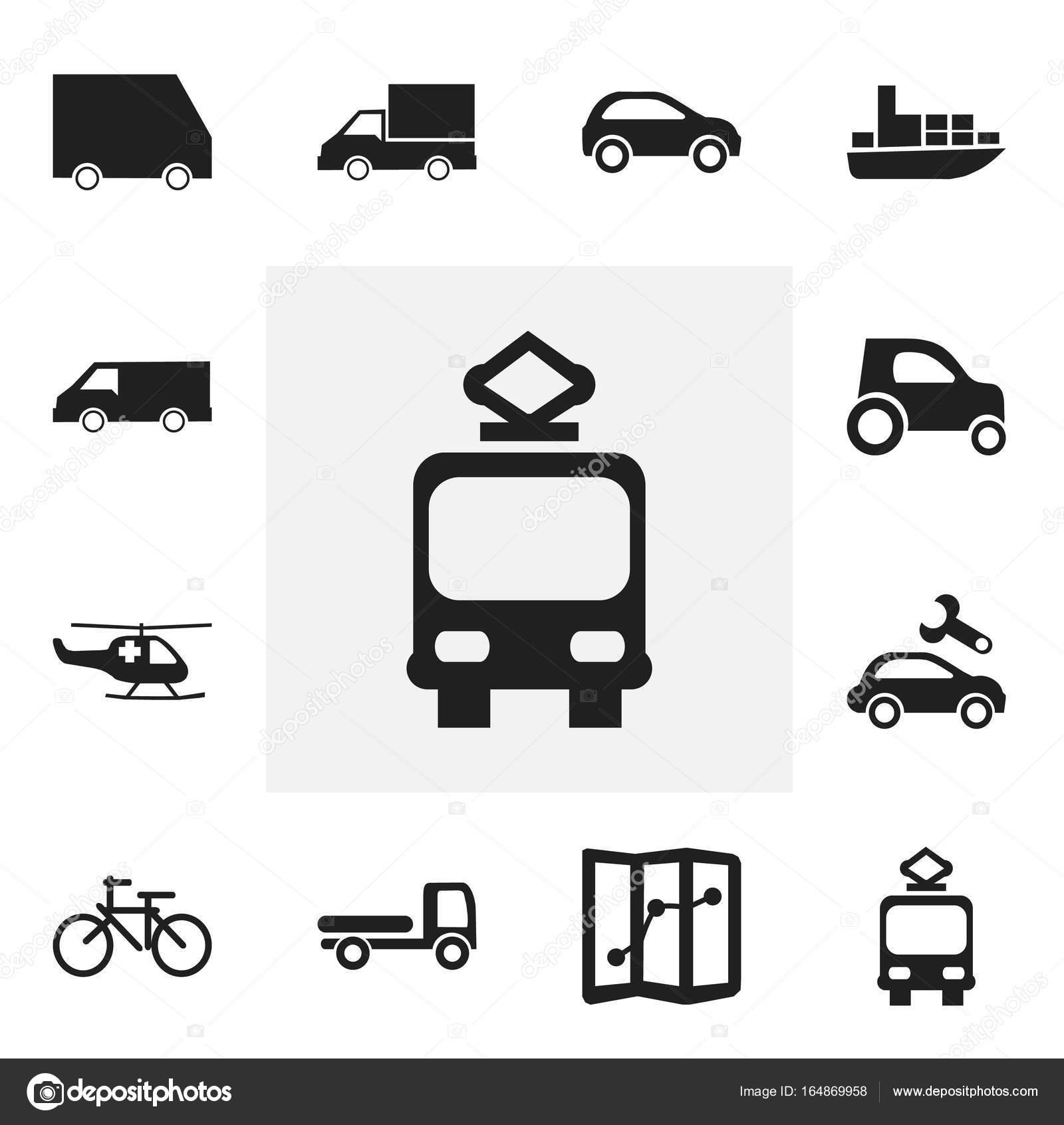 Set von 12 editierbare Transport Icons. Enthält Symbole wie ...
