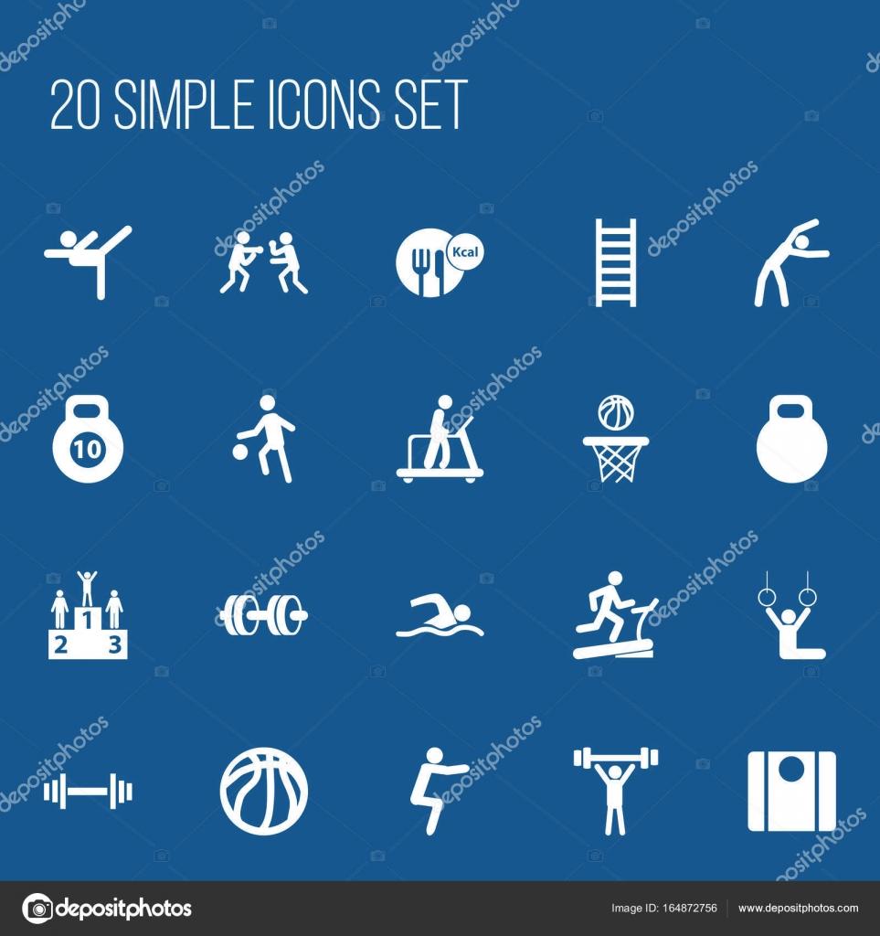 815515c42 Conjunto de 20 ícones do esporte editável. Inclui símbolos tais como  equilíbrio