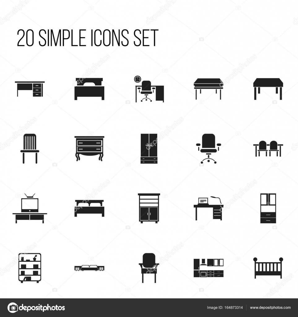 Ensemble De 20 Icones Modifiables Meubles Comprend Des Symboles