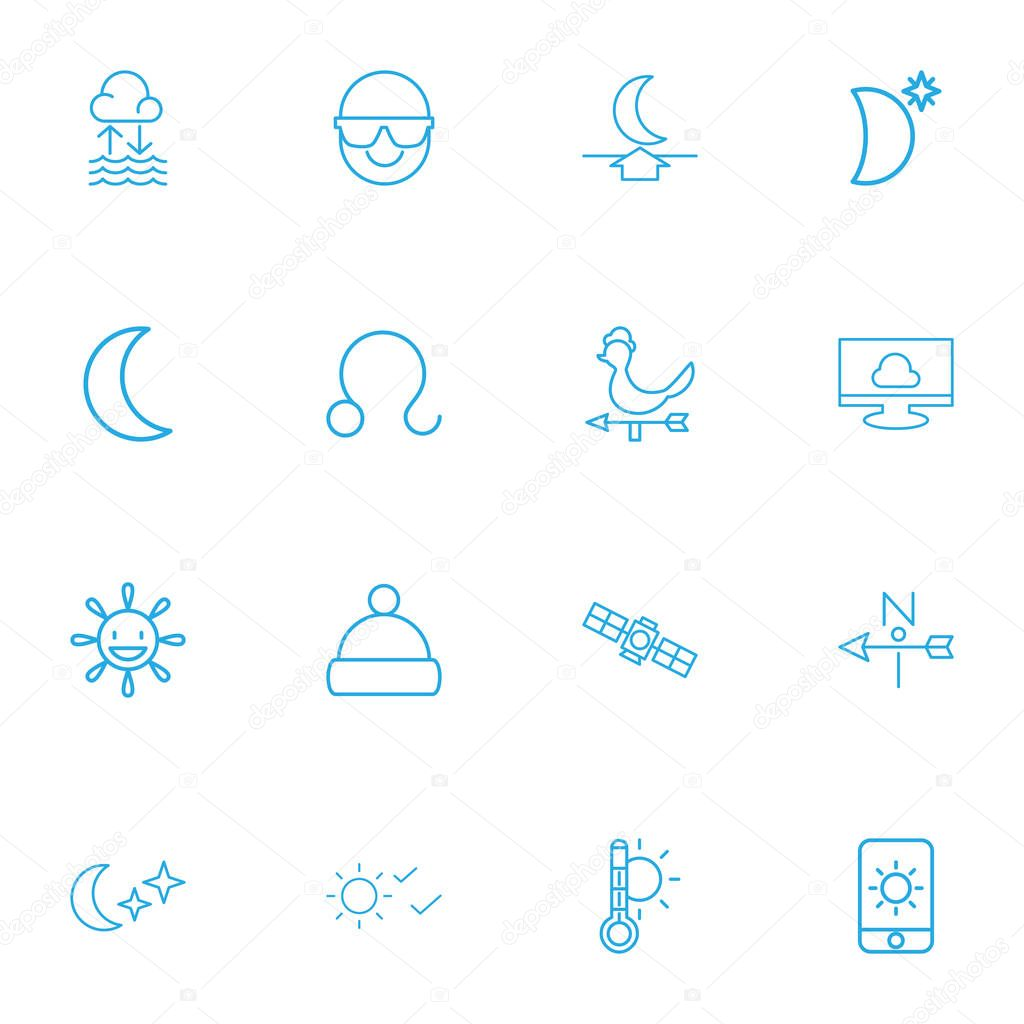 Set Of 16 Editable Air Outline Icons. Includes Symbols Such As Sputnik, Moon Up, Thermometer And More. Can Be Used For Web, Mobile, UI And Infographic Design.
