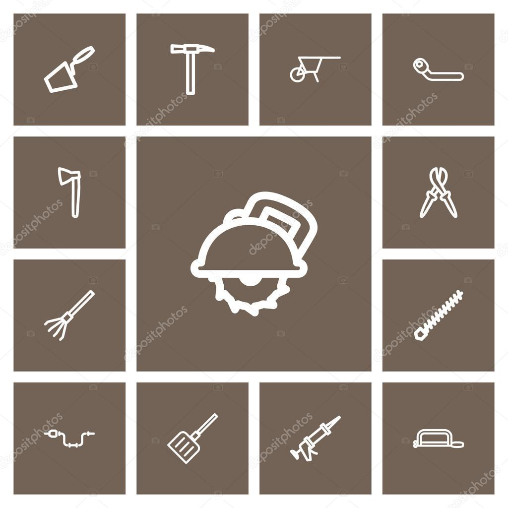 Set Of 13 Editable Tools Outline Icons. Includes Symbols Such As Pliers, Circle Spanner, Trowel And More. Can Be Used For Web, Mobile, UI And Infographic Design.