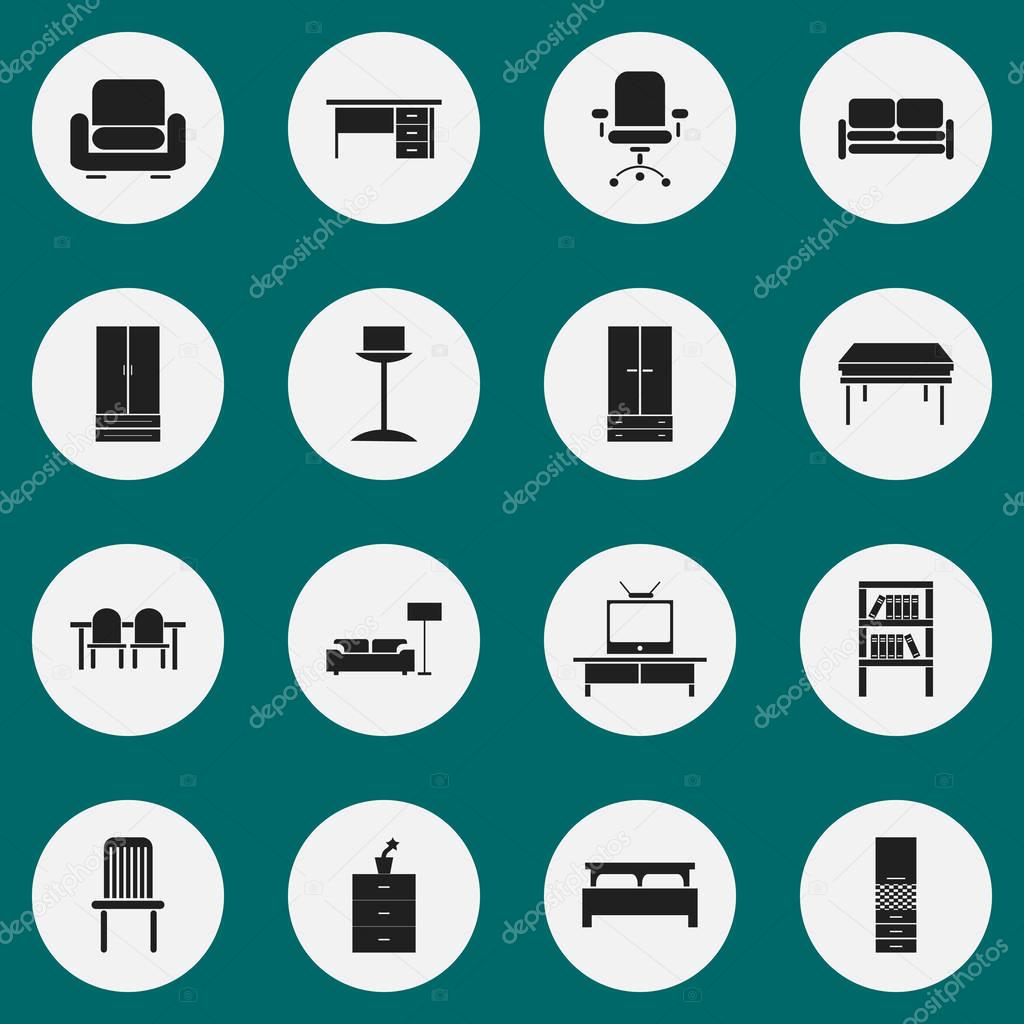 Set Of 16 Editable Furniture Icons. Includes Symbols Such As Cupboard, Restaurant Table, Trestle And More. Can Be Used For Web, Mobile, UI And Infographic Design.