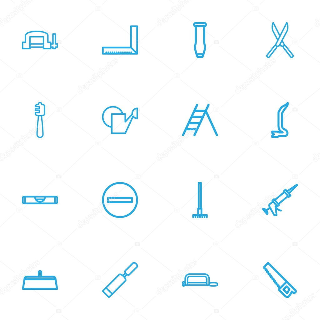 Set Of 16 Editable Apparatus Outline Icons. Includes Symbols Such As Handsaw, Saw, Balance. Can Be Used For Web, Mobile, UI And Infographic Design.