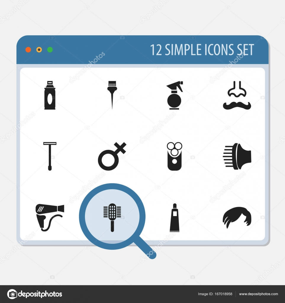 Set Of 12 Editable Tonsorial Artist Icons Includes Symbols Such As