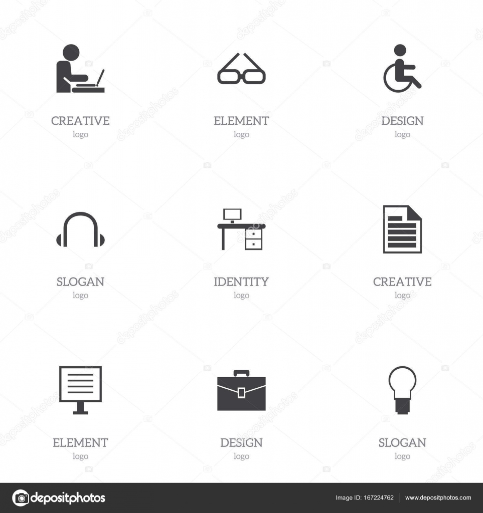 set of 9 editable office icons includes symbols such as light