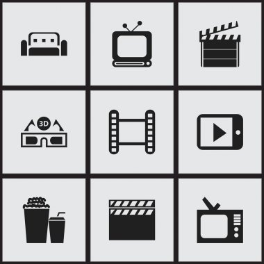 Set Of 9 Editable Cinema Icons. Includes Symbols Such As Movie Strip, Film Glasses, Retro Tv And More. Can Be Used For Web, Mobile, UI And Infographic Design.