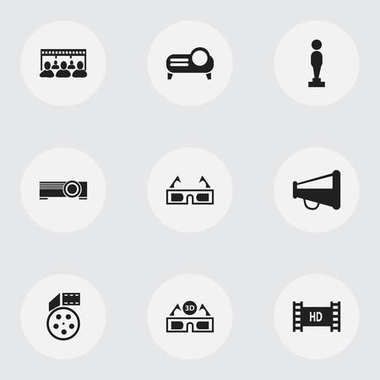 Set Of 9 Editable Movie Icons. Includes Symbols Such As Projector, Film Glasses, Oscar And More. Can Be Used For Web, Mobile, UI And Infographic Design.