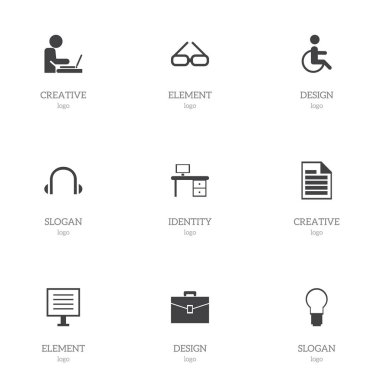 Set Of 9 Editable Office Icons. Includes Symbols Such As Light, Blank, Office Desk And More. Can Be Used For Web, Mobile, UI And Infographic Design.