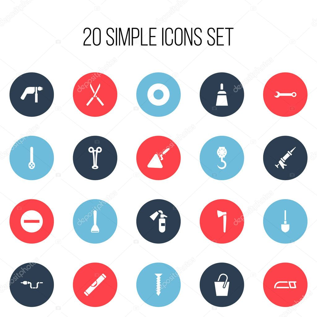 Set Of 20 Editable Equipment Icons. Includes Symbols Such As Sprinkler, Balance, Forceps And More. Can Be Used For Web, Mobile, UI And Infographic Design.