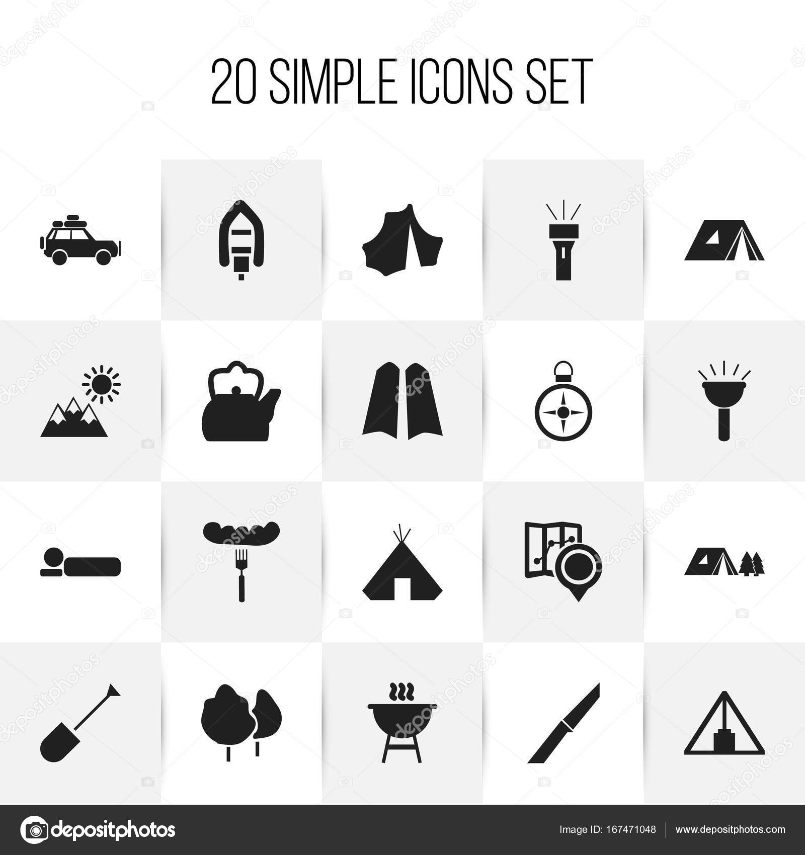 Set Of 20 Editable Travel Icons Includes Symbols Such As Landscape
