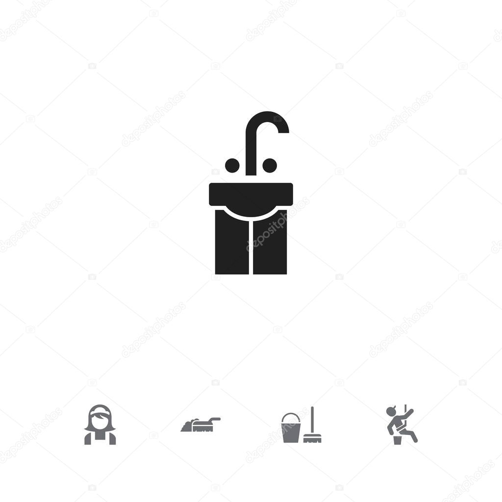 Set Of 5 Editable Cleanup Icons. Includes Symbols Such As Skyscraper, Hotel Staff, Sink And More. Can Be Used For Web, Mobile, UI And Infographic Design.