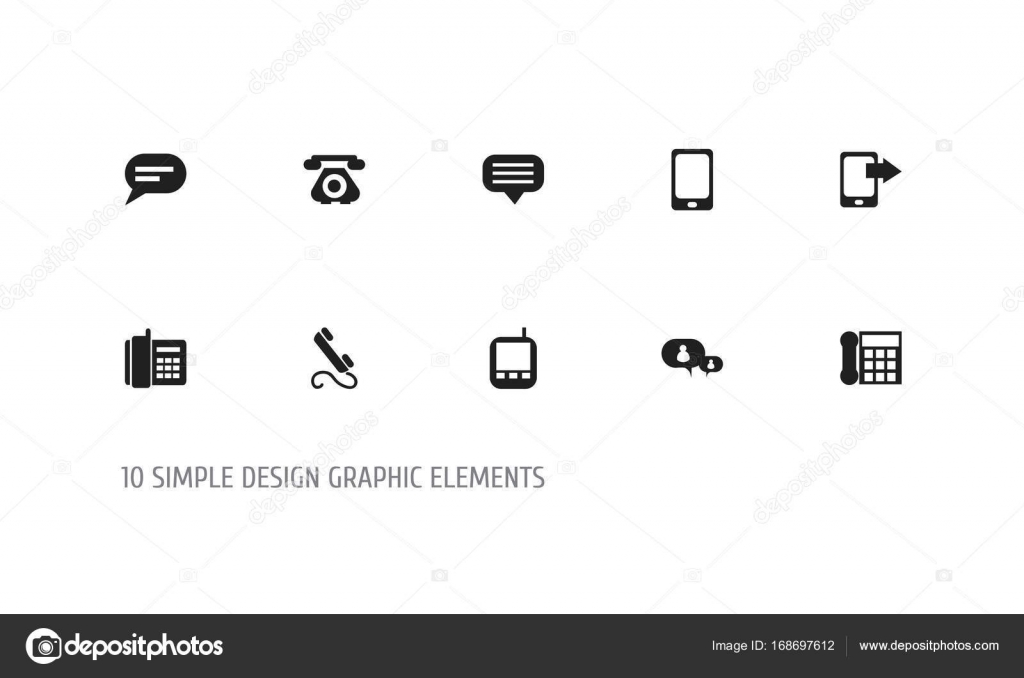 Set Of 10 Editable Phone Icons Includes Symbols Such As Transceiver