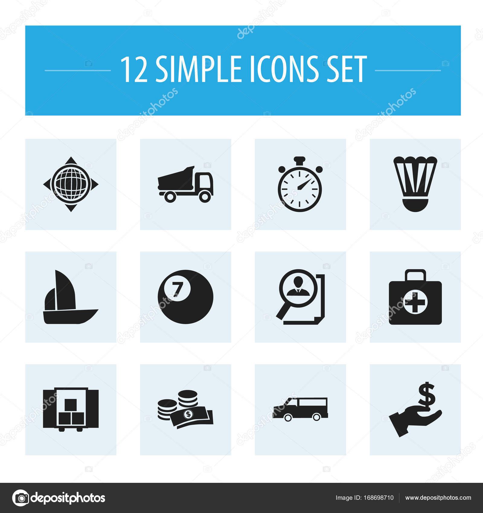 Set Di 12 Icone Complesse Modificabile Include Simboli Come