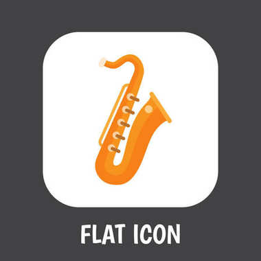 Vector Illustration Of Melody Symbol On Saxsaphone Flat Icon. Premium Quality Isolated Sax Element In Trendy Flat Style.