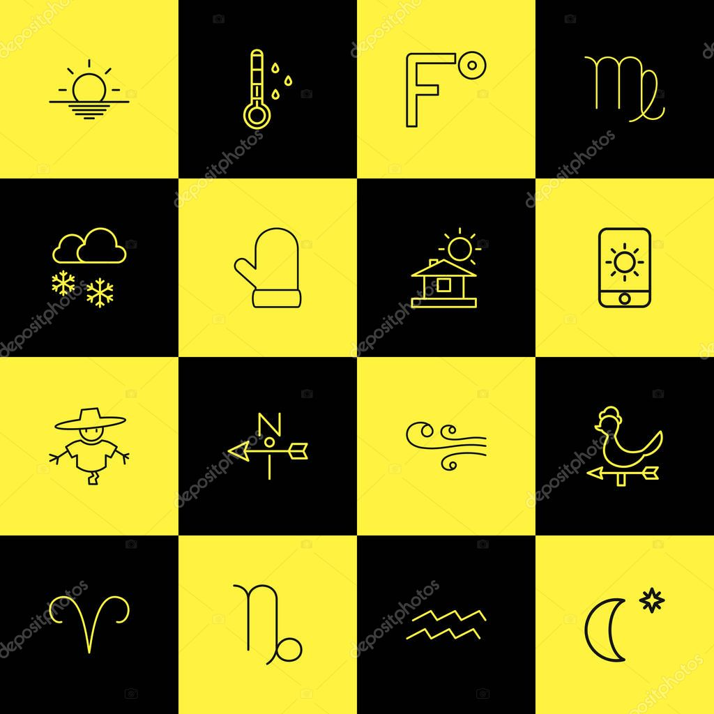 Set Of 16 Editable Weather Outline Icons. Includes Symbols Such As Sun In Display, Glove, Midnight And More. Can Be Used For Web, Mobile, UI And Infographic Design.