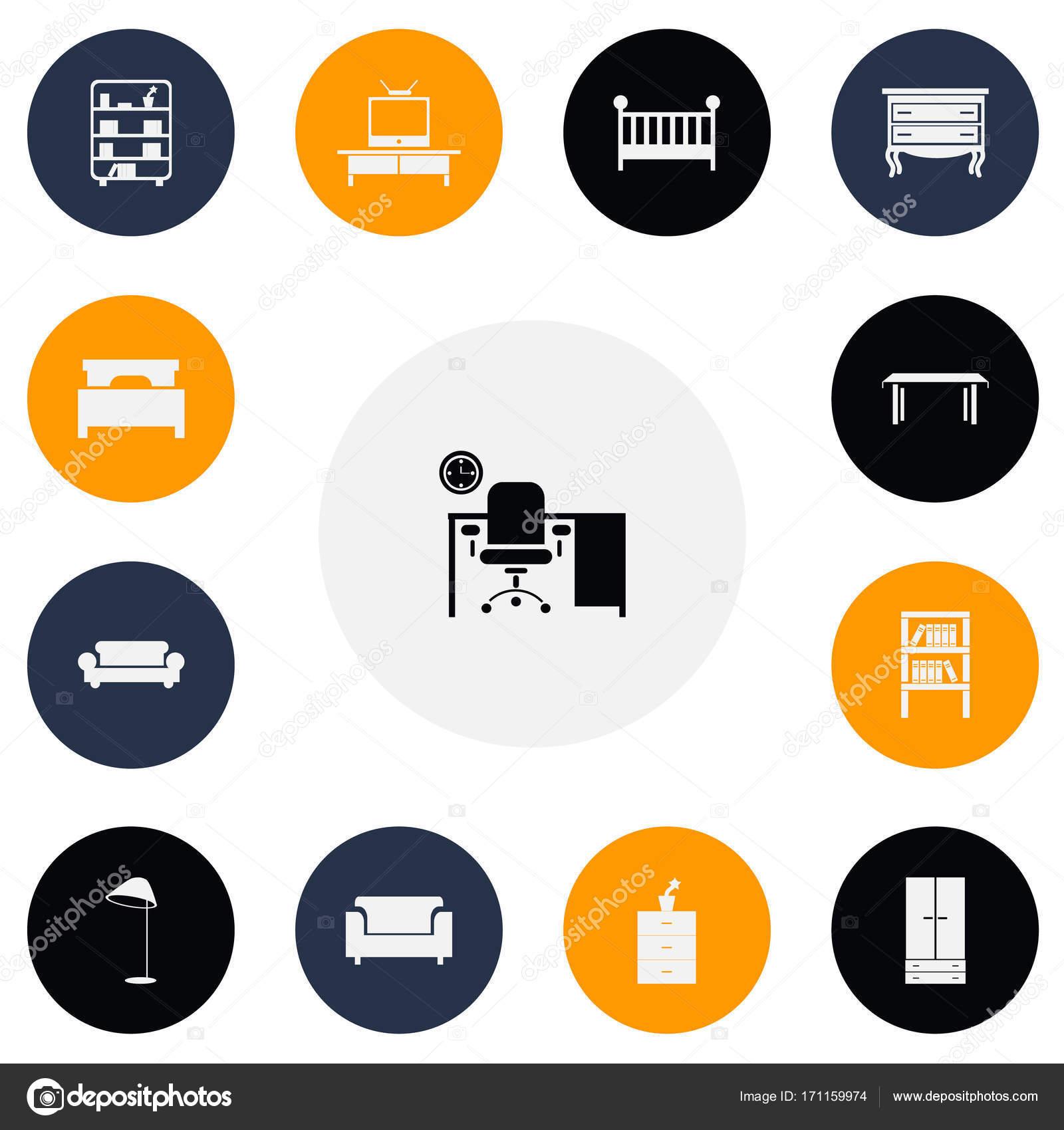 Conjunto de 13 iconos editables muebles. Incluye símbolos tales como ...