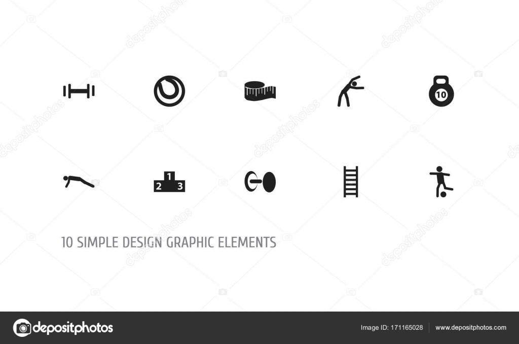 Set Of 10 Editable Fitness Icons Includes Symbols Such As Platform