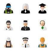 Készlet 9 szerkeszthető foglalkozás lapos ikonok. Úszó, diplomás, hangszóró, és szimbólumokat tartalmaz. Lehet használni a Web, mobil, Ui és Infographic Design