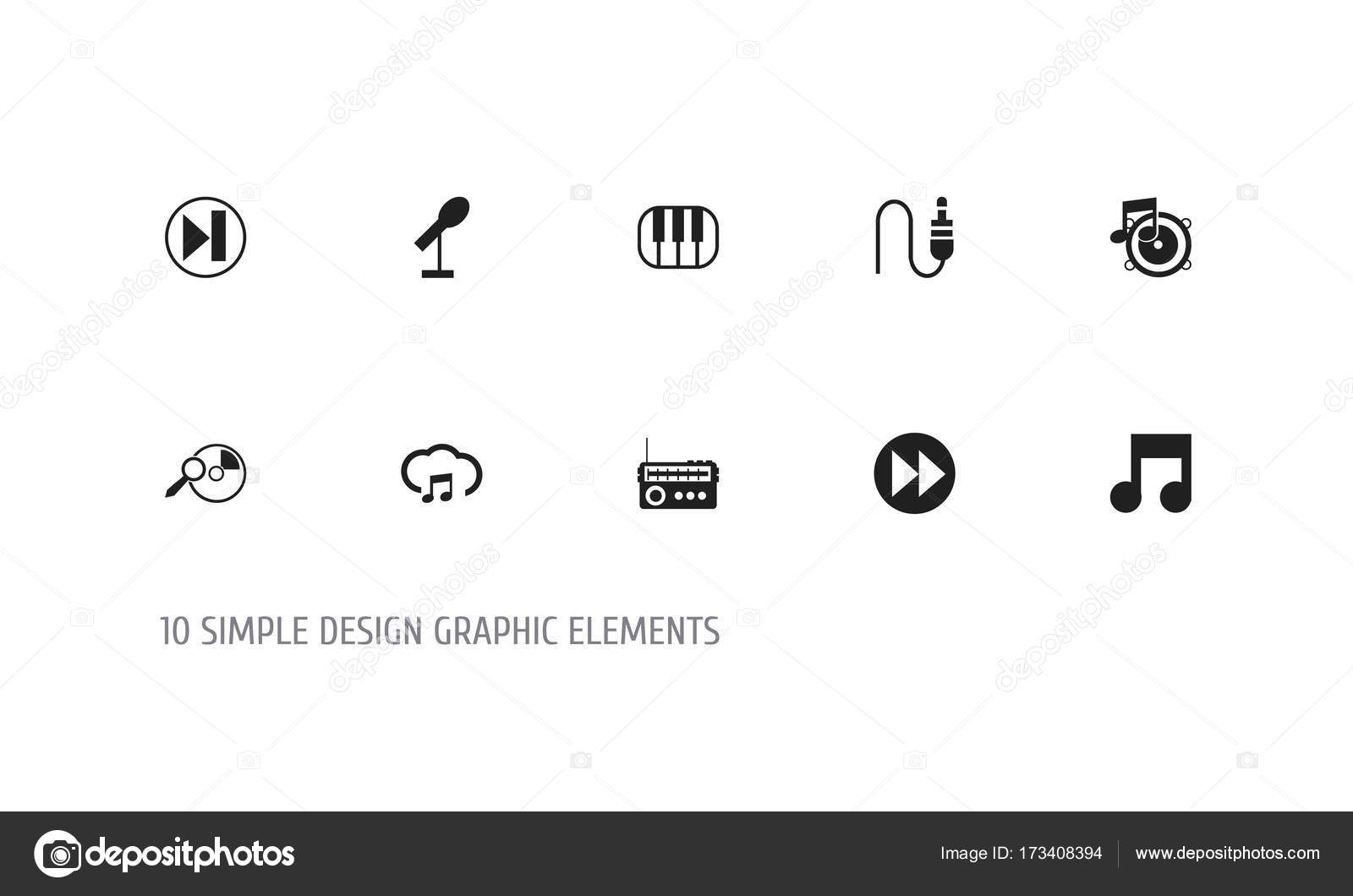 Set Of 10 Editable Media Icons Includes Symbols Such As Next