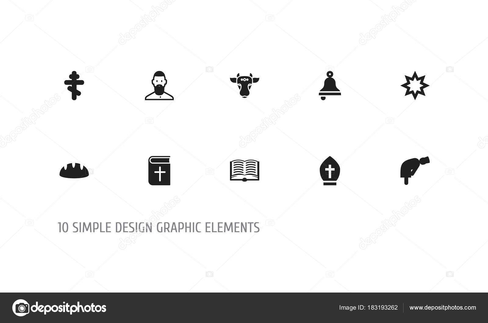 Set de 10 iconos de fe editable. Incluye símbolos como el asterisco ... 59d1325d0809