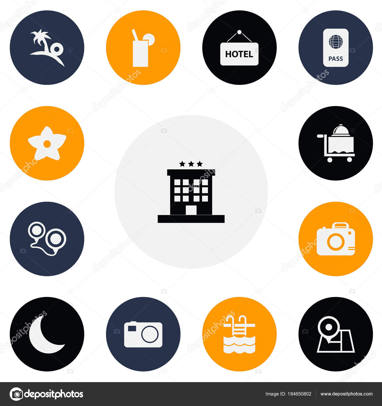 set of 13 editable travel icons includes symbols such as camera