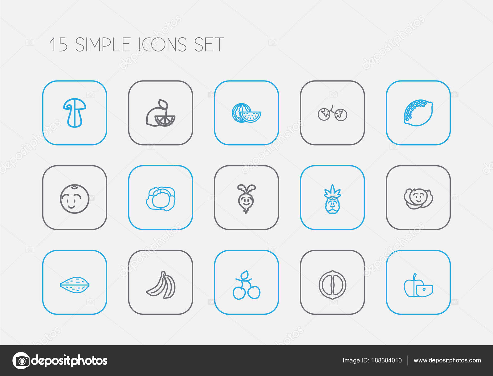 Set Of 15 Editable Food Icons Line Style Includes Symbols Such As