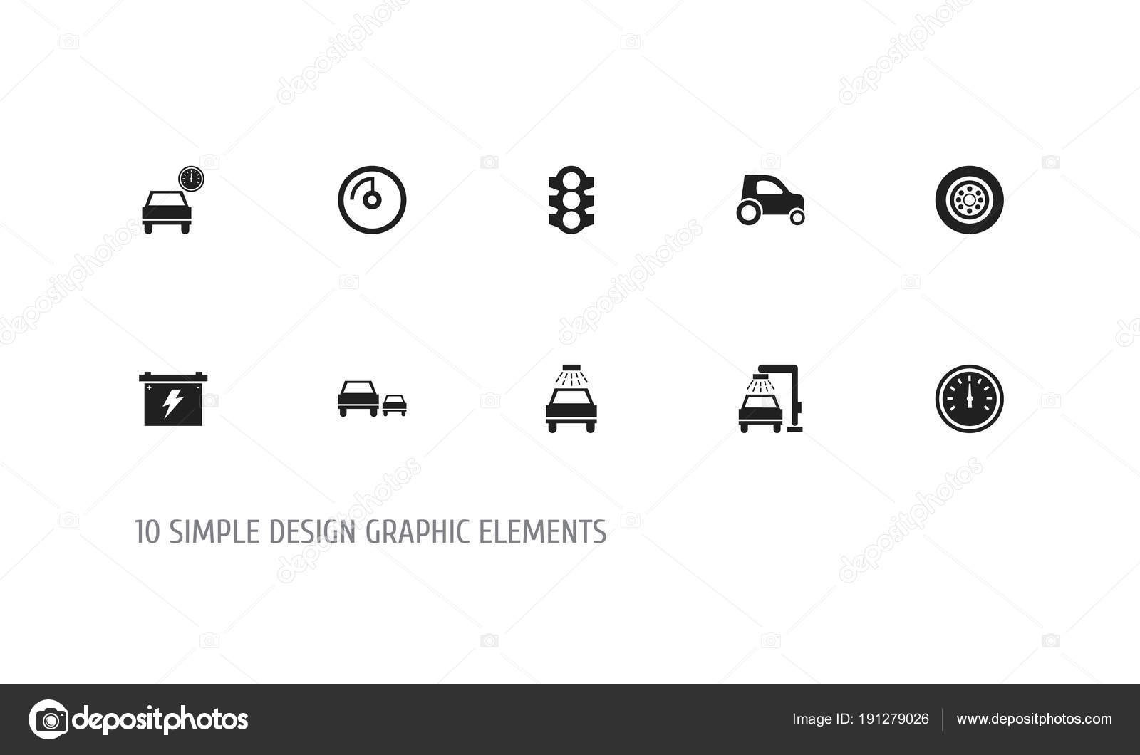 Set Of 10 Editable Car Icons Includes Symbols Such As Odometer