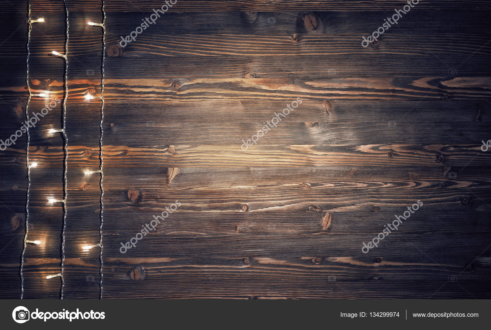Christmas Lights On Rustic Wooden Background