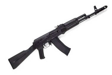 Modern assault Kalashnikov rifle on white background.