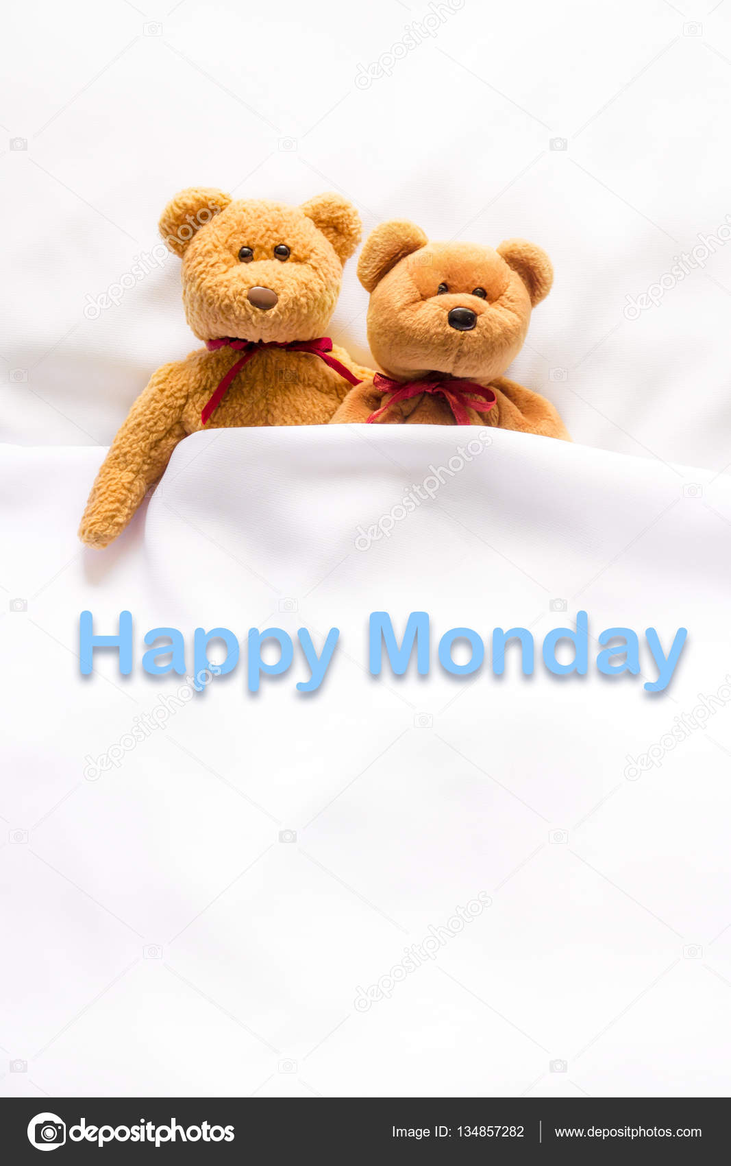 Teddy bear lying in the white bed with message happy monday teddy bear lying in the white bed with message happy monday meenstockphotogmail voltagebd Images
