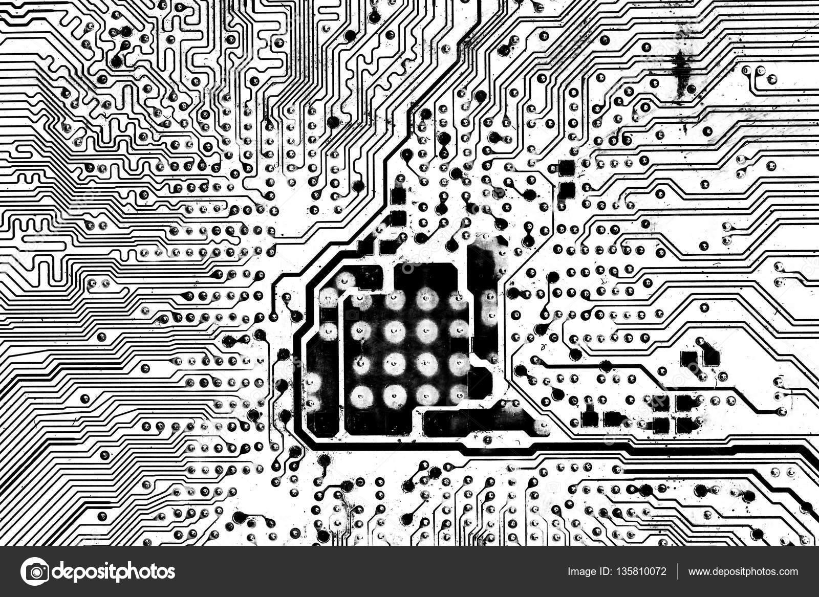 Circuito Eletrico : Circuito elétrico preto e branco para o fundo u stock photo