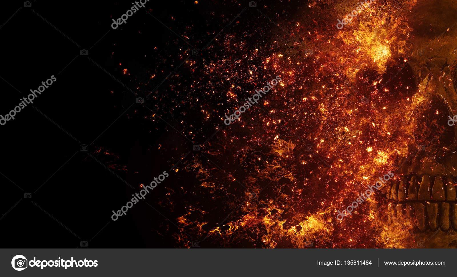 Calavera Llamas Efecto Fuego