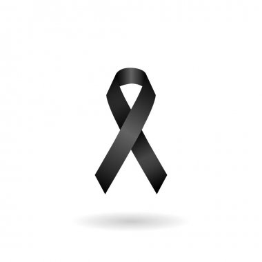 black ribbon mourning sign. vector