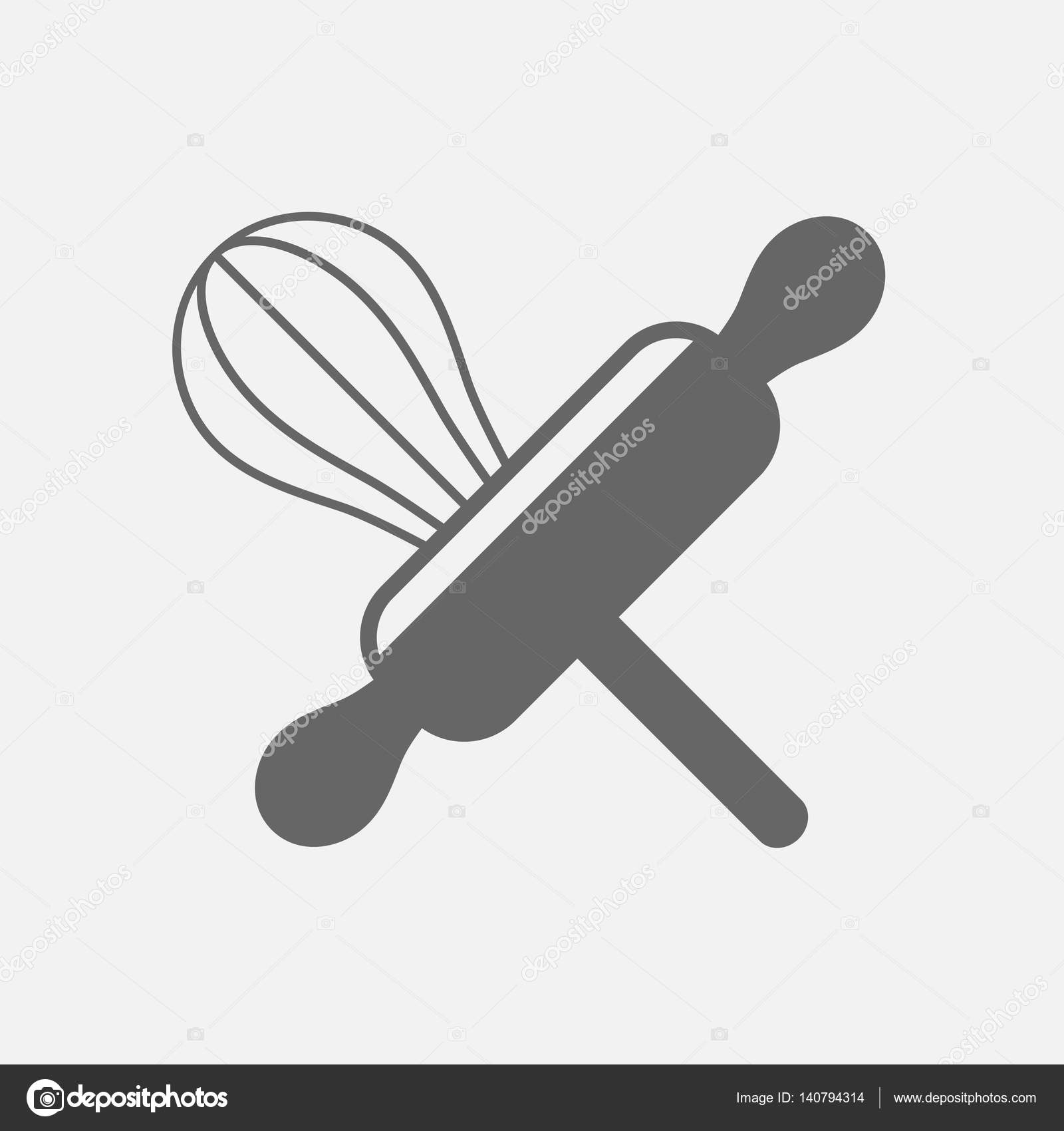 Filo di utensile da cucina frusta e mattarello di legno panetteria ...