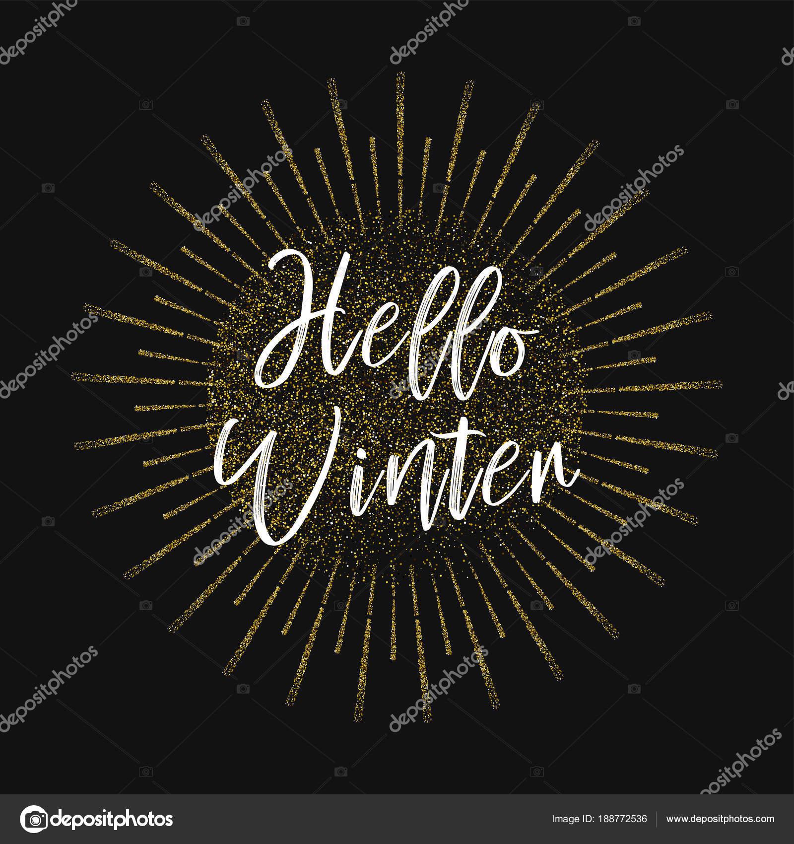 Citaten Over De Winter : Hallo winter gouden glitter achtergrond u stockvector marryicon