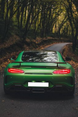 Green sport model sedan travelling in the autumn forest
