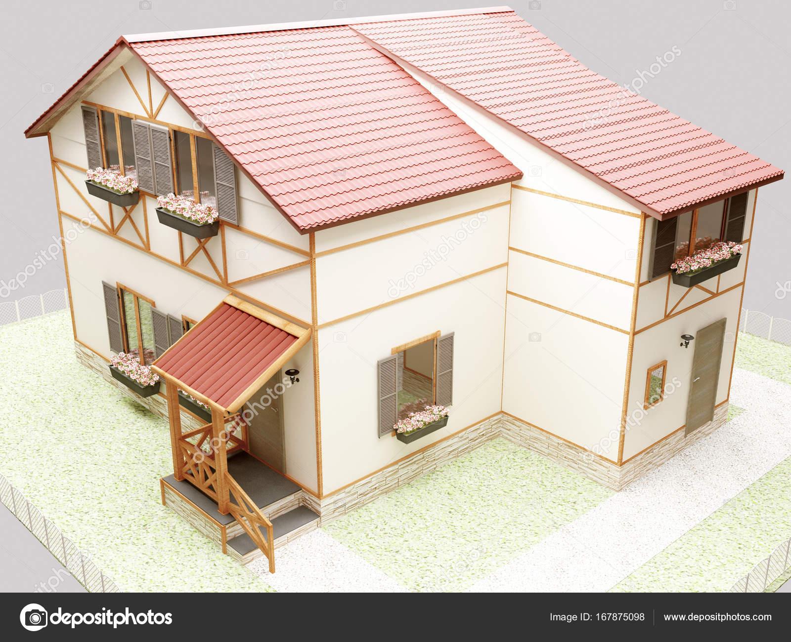 Mooi huis in moderne stijl 3d u2014 stockfoto © minerva86 #167875098