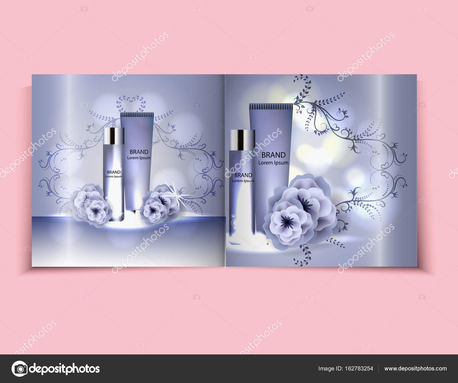 Hidratante crema facial paquete cosméticos diseño, anuncios ...
