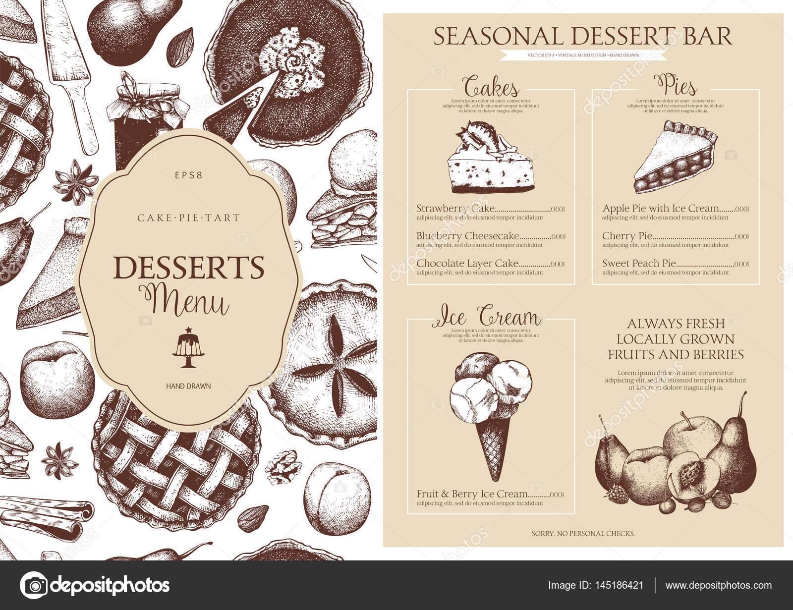 Vektor-Dessert-Menü-Design für Restaurant oder café — Stockvektor ...