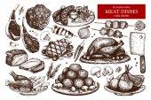 Fényképek kézzel rajzolt hús illusztráció gyűjteménye