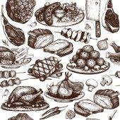 Fényképek kézzel rajzolt hús illusztráció