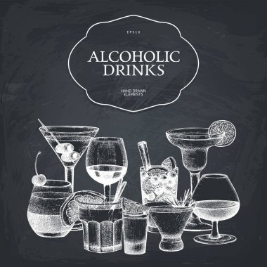 hand drawn alcoholic cocktails illustration