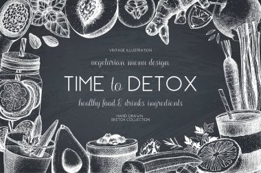 Detox diet products sketch set
