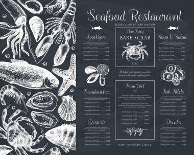 Seafood  menu design.
