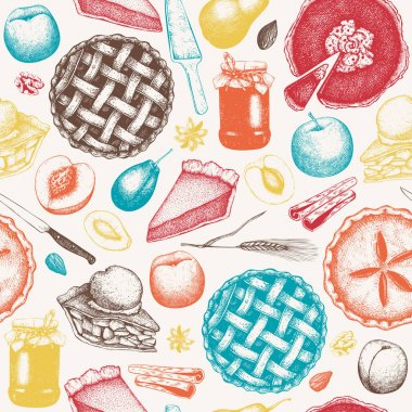 fruit and berry baking seamless pattern