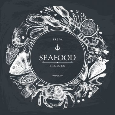 Seafood card or flyer design