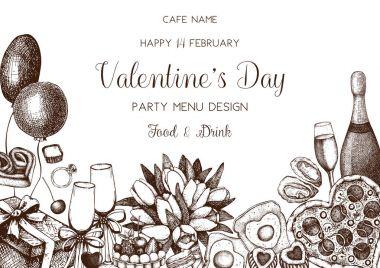 Vintage menu design for cafe or restaurant. Vector frame with hand drawn food and drinks sketch for Valentine's Day celebration. clip art vector