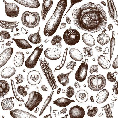 Ink hand drawn vegetables sketch