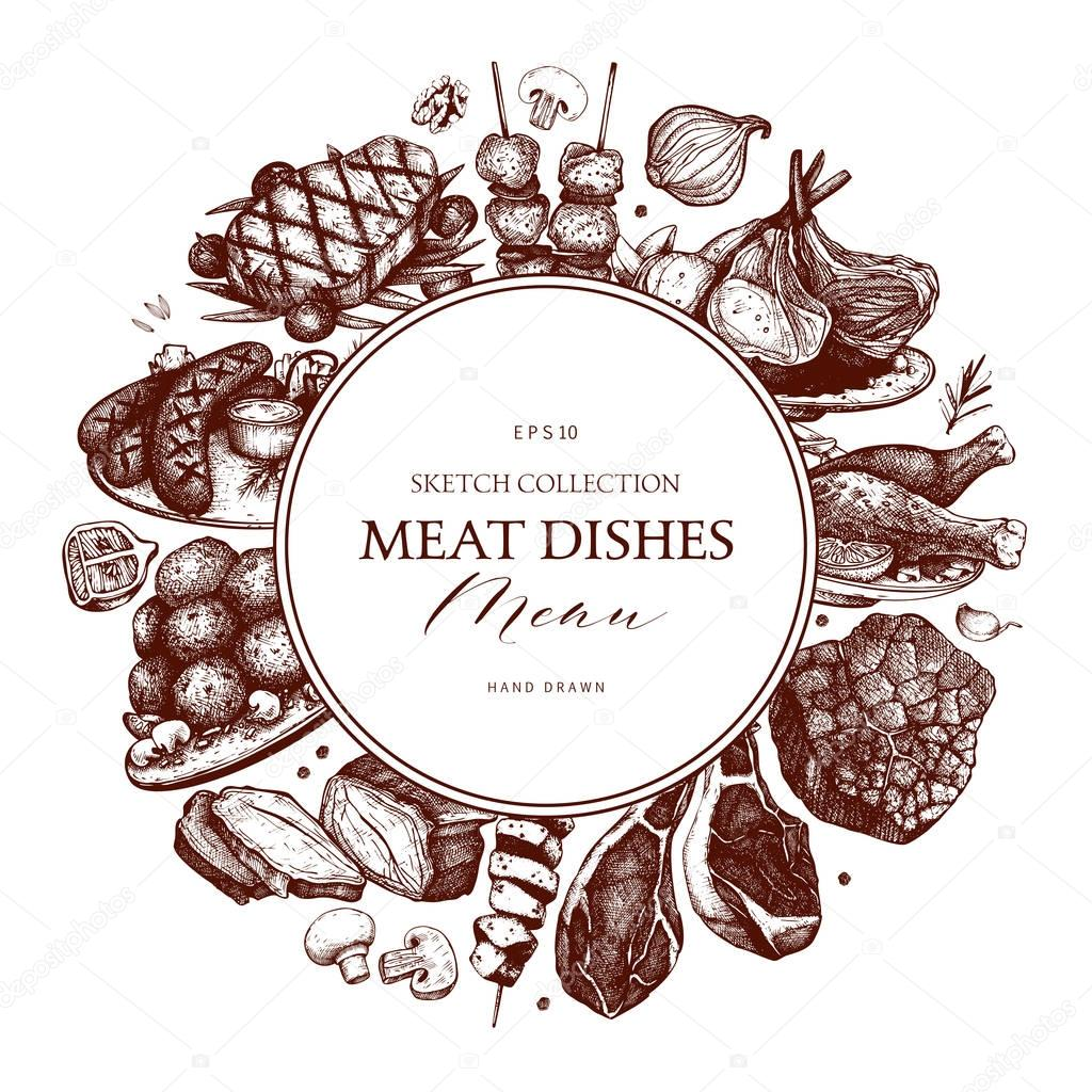 hand drawn meat frame