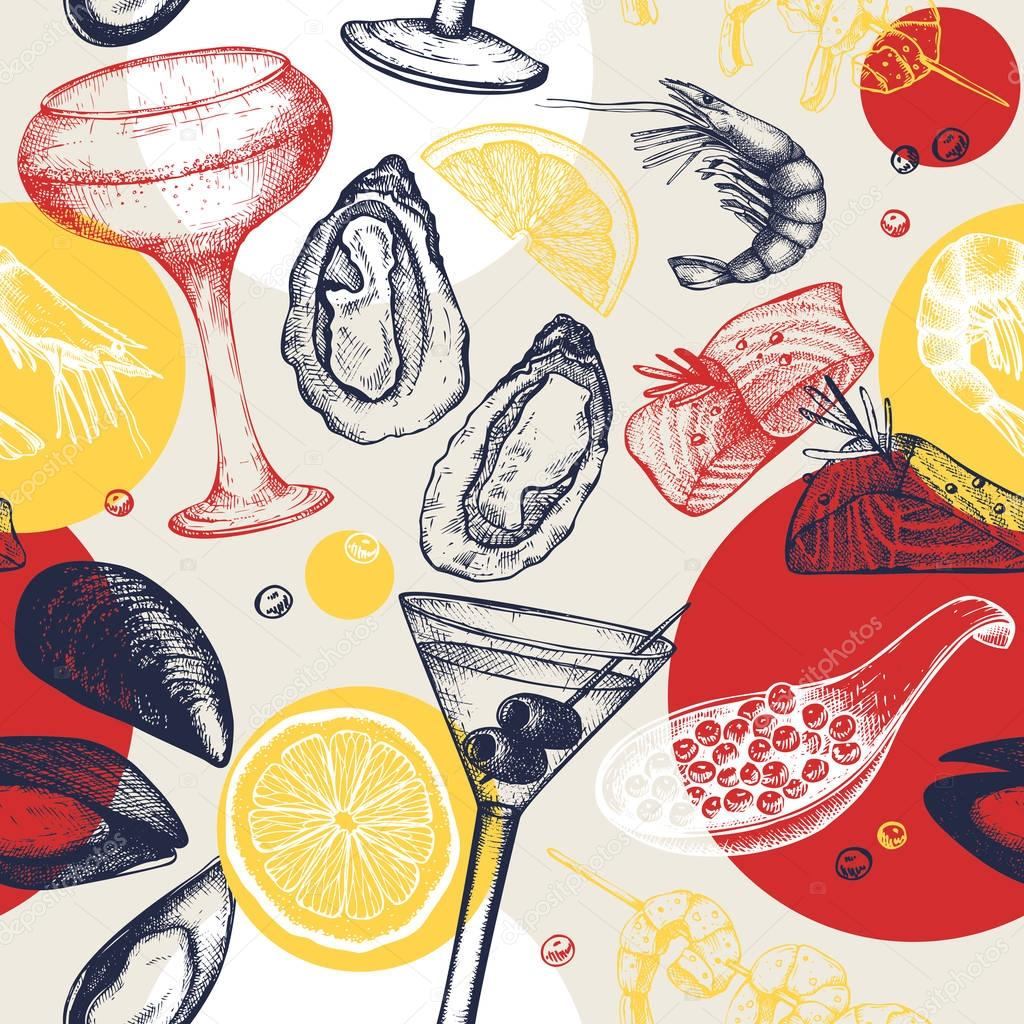 Vector seamless pattern with seafood and cocktails sketch.